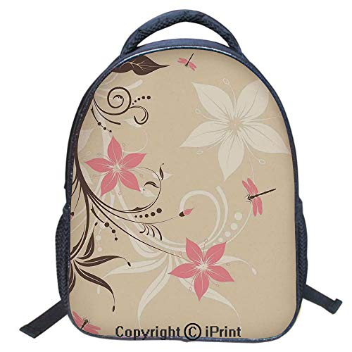 (3D Print Backpack,Suitable for Kids,School Backpack,Book bags,Travel Hiking Bag Backpack Collection Bags for Teen Girls Kids,16 inch,Floral Background with Dragonflies and Spiral Fashioned Foliage Bud)