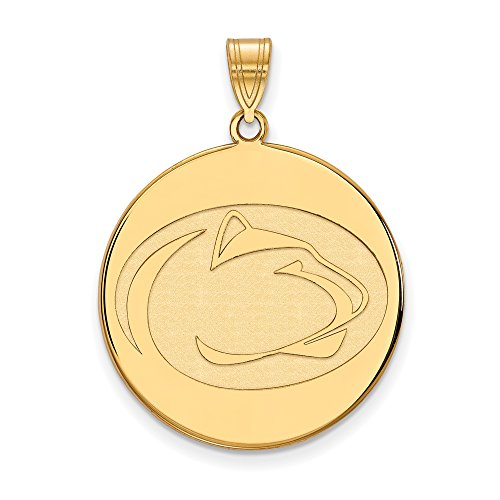 Penn State Extra Large (1 Inch) Disc Pendant (10k Yellow Gold) by LogoArt