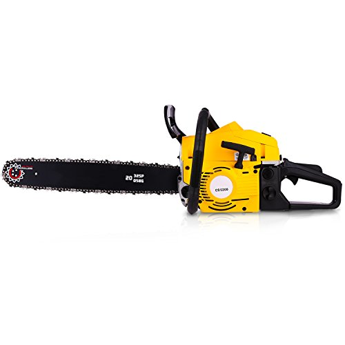 20 Inch Gas Chainsaw 52CC 2 Strokes Gas Powered Chain Saw Handle Chain Saw Rancher Outdoor Garden Yard Use with Tool Kit (52CC)