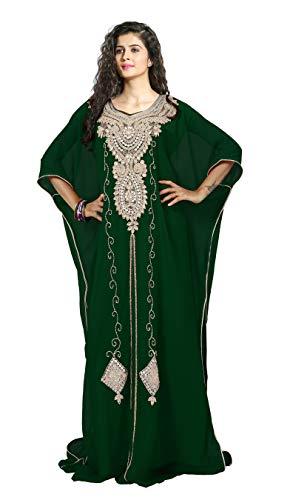KoC Women's Kaftan Maxi Dress Farasha Caftan KFTN125-Green