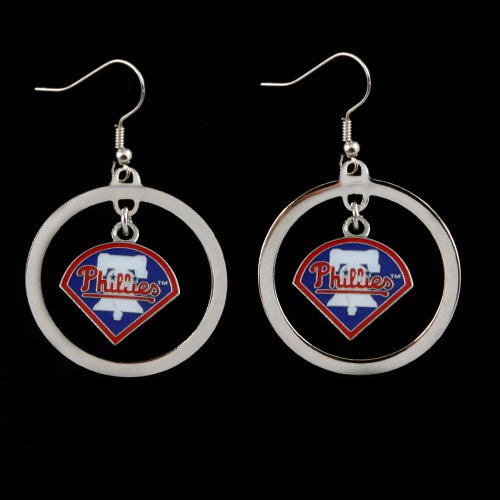 MLB Philadelphia Phillies Floating Logo Hoop Earrings