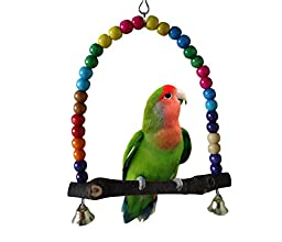 SMARTPRIX Colorful Wooden Bird Swings Budgie Toys Bird Swings for Parakeets Parrot Parakeet Large Multicolor