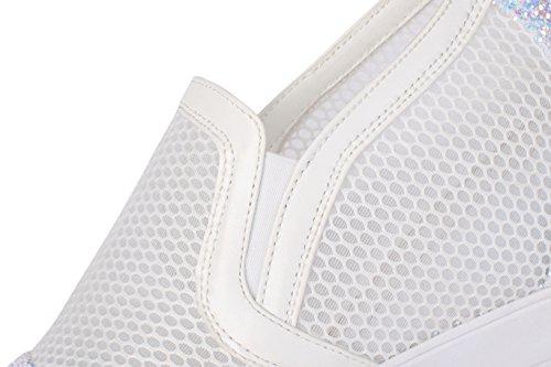 Amoonyfashion Vrouwen Pu Solide Pull-on Ronde-teen Hoge Hakken Pumps-schoenen Wit