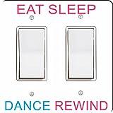 Rikki Knight 41197 Double Rocker Eat Sleep Dance rewind Pink & Blue Design Light Switch Plate