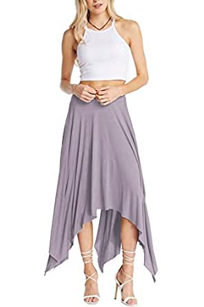 A.S Solid Grey Uneven Hem Lining Skirt Dk.Taupe-Large