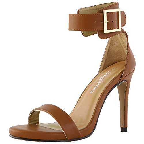 DailyShoes Women's Stiletto Heels Open Toe Ankle Buckle Strap Platform High Heel Evening Party Dress Casual Sandal Shoes, Tan PU Leather, 7.5 B(M) (Tan Leather High Heel)