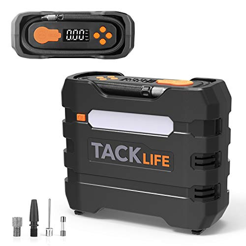TACKLIFE Digital Tire Inflator, Air Compressor Pump 150PSI, 12V Tire Pump with Overheat Protection, Long Cord and Tire Pressure Replenishment, LCD Display, LED Light, 3 Nozzles and Extra Fuse-ACP1B