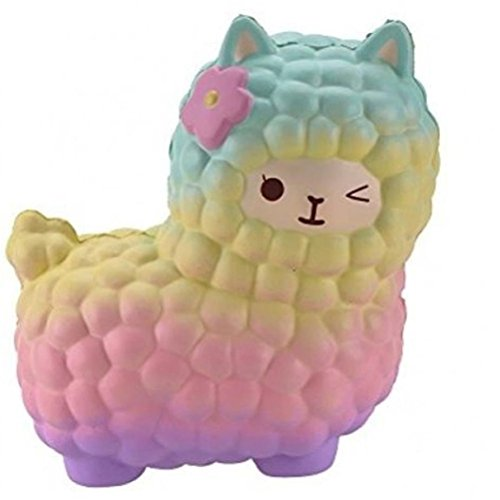 Neband Squishy Cute Sheep, Jumbo Slow Rising Scented Soft Toys Collections Gifts for Kids Adults (Rainbow)