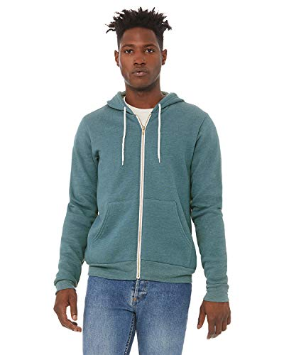 Bella + Canvas - Unisex Sponge Fleece Full-Zip Hoodie - 3739 - L - Heather Deep Teal
