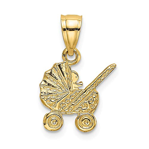 14k Gold Baby Carriage Charm - 14k Yellow Gold Baby Carriage Charm
