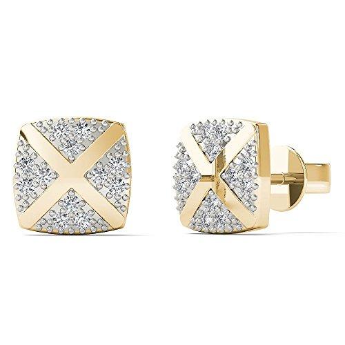 JewelAngel Women's 10K Yellow Gold Diamond Accent Square With Cross Stud Earrings (H-I, I1-I2) by JewelAngel