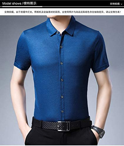 LXFMZ Camisa de Vestir para Hombre Camisa de Manga Larga con Ajuste Regular, Camisa de Vestir para Hombre, Camisa de Vestir de Corte Regular, Manga Corta para Hombre,Azul,XXXL: Amazon.es: Hogar