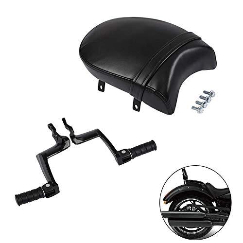 Seat Moto - XMT-MOTO Rear Footpeg Mount+Passenger Seat for Victory Vegas, Kingpin, Boardwalk, High ball, Gunner,Black