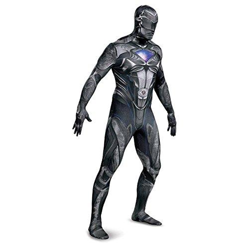 Disguise Mens Power Rangers Ranger Bodysuit Costume Attached Gloves, Mask, Medium, Black ()