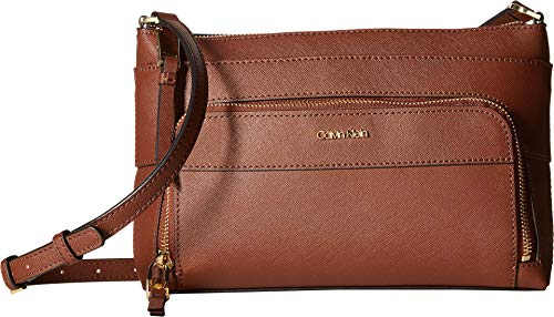 Calvin Klein Lily Saffiano Leather Top Zip Crossbody, Walnut ()