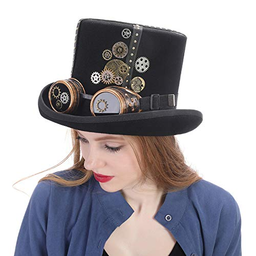 Black Wool Steampunk Top Hat with Handmade Steam Punk Glasses Gear Fedora Party Hat Women Men]()