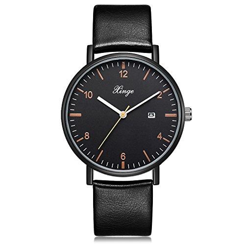 - Men's Analog Quartz Watch Leather Strap Classic Simple Design Date Wrist Watch (Black)