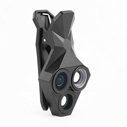 Morjava Clip-on 3 in 1 Fisheye Lens 0.65X 160 Degree Wide Angle Lens 20X Macro Camera Lens Combining All Lenses in 1 Clip for iPhone 8 7 6 6plus 5 5s 4 4s Samsung HTC All Mobile Phones