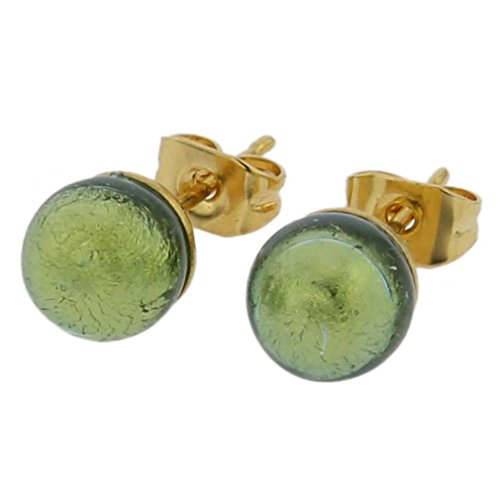 - GlassOfVenice Murano Glass Tiny Stud Earrings - Golden Aqua