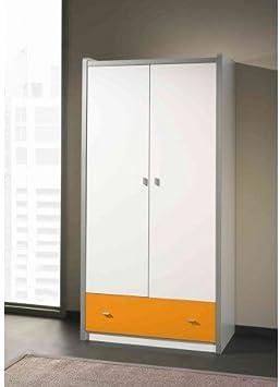 Armario de 2 puertas para niños Bova negra blanco/naranja: Amazon.es: Hogar