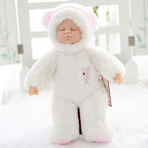 25 Cm Bearwhite DONGER Toy Sleep Cute Doll Soft Rubber Comfort Accompany Sleeping Doll Simulation Doll Toy Doll Birthday Gift Female, Rabbit  White, 25 Cm