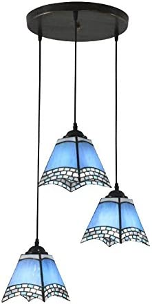 3 Lights Blue Tiffany Restaurant Pendant Lamp Mediterranean Bar Pendant Lights Kitchen Pendant Light Round Top Amazon Co Uk Lighting