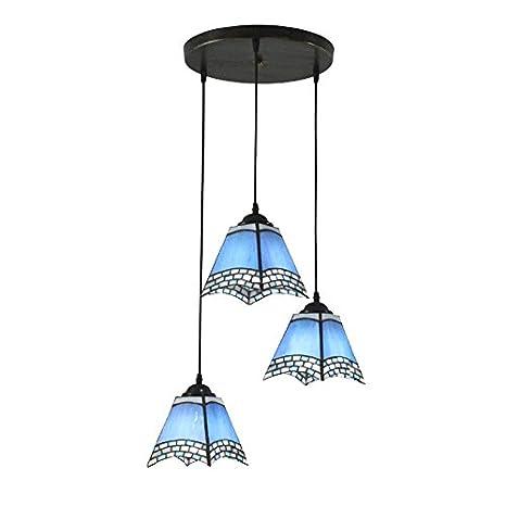 3 luces azules restaurante Tiffany lámpara de techo ...