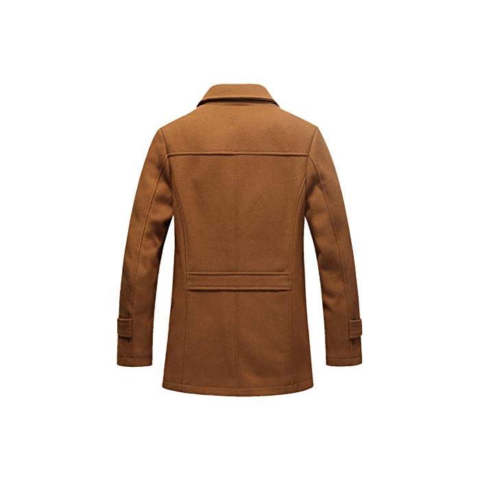 418cbdfMt9L Abrigo de invierno clásico para hombre con cuello alto y varios bolsillos. Chaqueta de manga larga con cierre de botón, diseño sencillo y elegante. 50% Lana, 50% Poliéster