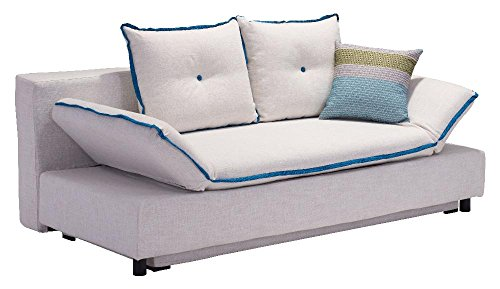 Zuo Modern Serenity Sleeper Natural Sofa with Piping, Blue