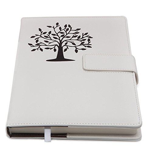Large Lined Journal - The Tree of Life Refillable Writing Journal | Faux Leather Cover, Magnetic Clasp + Pen Loop | Blank Notebook | 200 Lined Pages, 6 x 8.5 Inches for Travel, Personal, Poetry | White | The Amazing Office