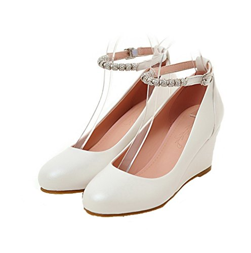 Odomolor Women's Kitten-Heels PU Solid Round-Toe Buckle Pumps-Shoes, White, 43