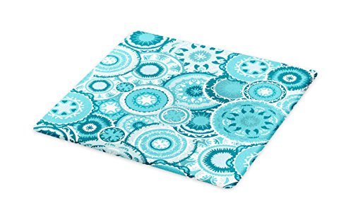 Ambesonne Aqua Cutting Board, Hippie Floral Leaves Mandala Rounds Traditional Elements Print, Decorative Tempered Glass Cutting and Serving Board, Large Size, Turquoise White