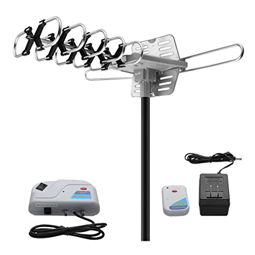 Outdoor Amplified TV Antenna, Housmile 150 Miles Digital Amplified HDTV Antennas with 33FT Coaxial Cable, Wireless Remote Control Motorized 360 Rotation-2 TV Support
