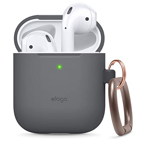 elago Silicone Case with Keychain Designed for Apple AirPods Case [Front LED Visible] [Dark Grey]