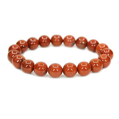 Amandastone Natural Red Jasper Gemstone 10mm Round Beads Stretch Bracelet 7