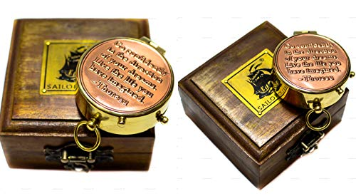 Sailor's Art Antique Brass Compass with Sheesham Wooden Box, Vintage Antique Home Décor & Gift (Style 17)