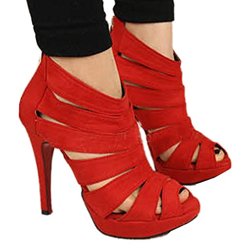 [FINEJO Sexy Fashion Womens Platform Pumps Strappy Buckle Stiletto High Heels Shoes Red 37] (Sexy Buckle)