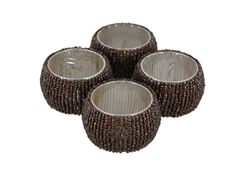 ShalinIndia Handmade Napkin Rings Set of 4 Brown Glass Beaded Napkin Holders - 1.5 Inch in Size - for Wedding Party