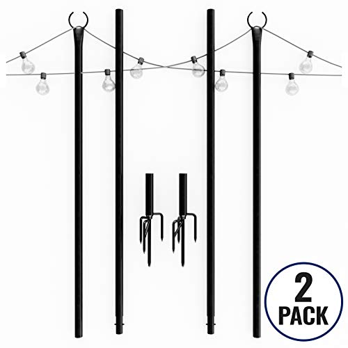 Outdoor String Lights Pole (2 x 9ft) - Sturdy Steel Powder Coated Water-Resistant with Patent 4Prong 8