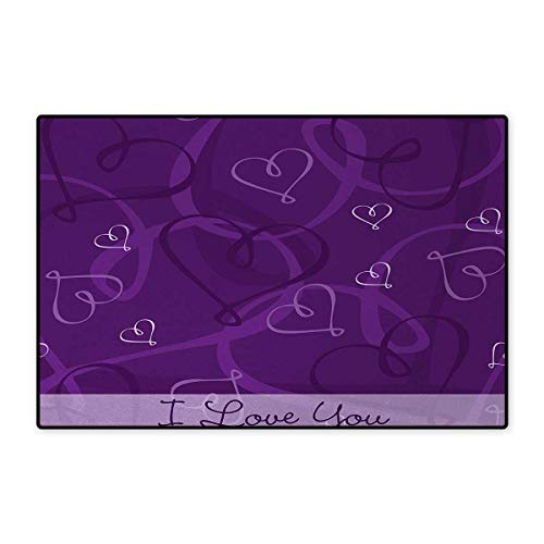 (Romantic,Bath Mat,Lavender Colored Romantic Themed Image with Hand Drawn Hearts Image,Doormat Outside,Eggplant Purple and Lilac)