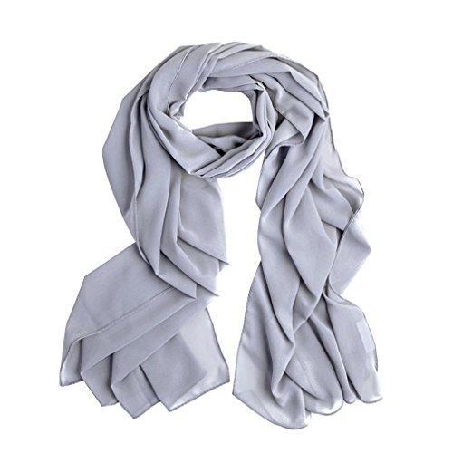 Solid color Fashion Scarf Chiffon Long Hijabs (Grey) - 1