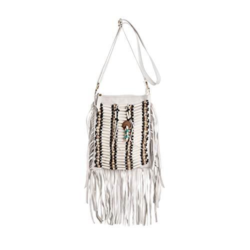 White Boho Bag | Real Leather | Fringe Purse | Bohemian Bags | Hobo Tote Handbag