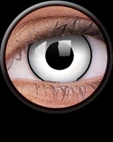 Tageslinsen One Day WHITE MANSON Kontaktlinsen weiss schwarz rand dämon vampire halloween kostüme