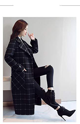 Du Manteau Populaire Noir Section À Longue Laine Hiver De Carreaux 2018 Et Dans Mince Femme En Clothes La Automne Tempérament q8zR6g