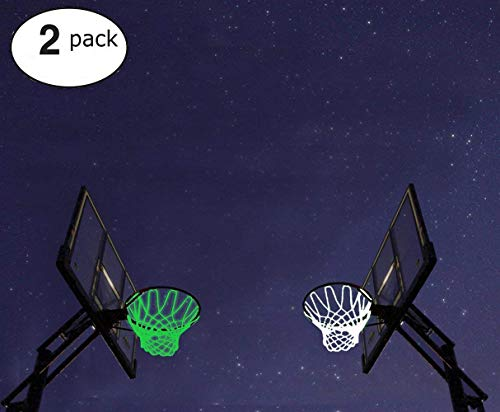 Debolic 2Pcs Basketball Hoop Net New Glow In The Dark Professional Basketball Sports Replacement Luminous Net Fits Standard Indoor or Outdoor All-Weather Heavy Duty Thick Net (white+green)