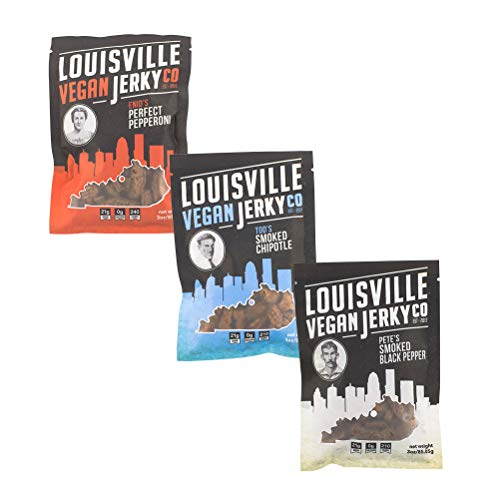 Louisville Vegan Jerky - 3 Flavor Variety Sampler Pack, Vegan/Vegetarian Jerky, 21 Grams of Protein (Bourbon Smoked Black Pepper, Perfect Pepperoni and Bourbon Smoked Spicy Chipotle, 3 Ounces)