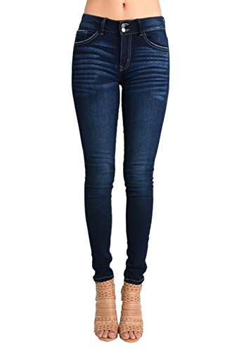 Kan Can Women's Mid Rise Ankle Length Skinny Jeans (7, Dark Wash)