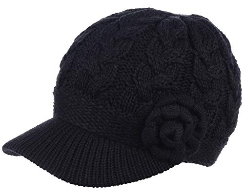 BYOS Womens Winter Warm Fleece Lined Knitted Beret Beanie Hat Cap w/Visor Peak (Cable w/Flower