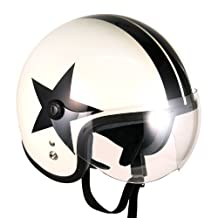 Pilot Style Open Face Motorcycle Helmet (White Black-star, Large) Model No.jet-bb