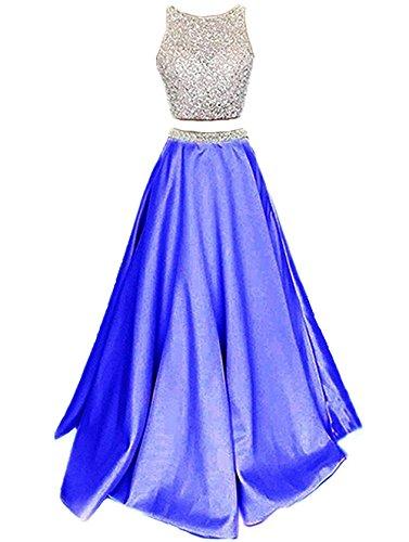 Noche Piezas Real Dos Vestidos Satín Fiesta de Callmelady Mujer Azul Largos de Vestidos para 8qw1n4FxT